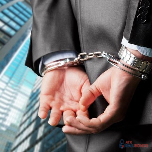 Close Up of Hands Cuffed, Business Man in a Suit Corporate Buildings in Background